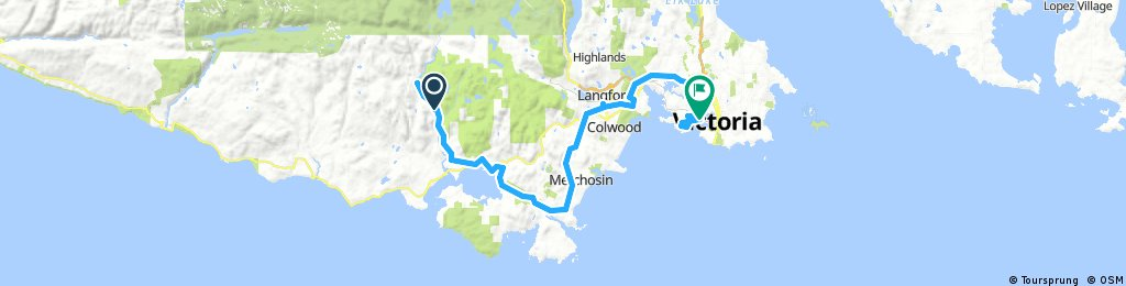 Lengthy bike tour from Sooke to Victoria
