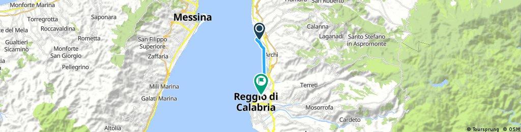 Brief bike tour from Gallico to Reggio di Calabria