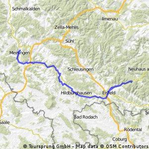 Werratalradweg Meiningen - Werraquelle -Eisfeld