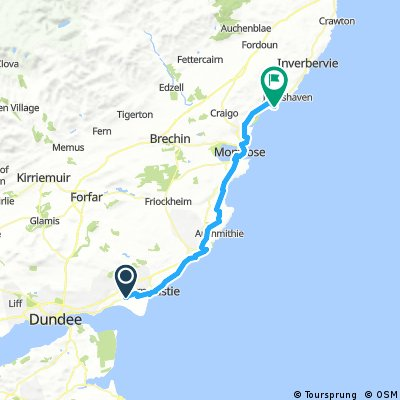 Lengthy bike tour from カーヌスティ to Montrose
