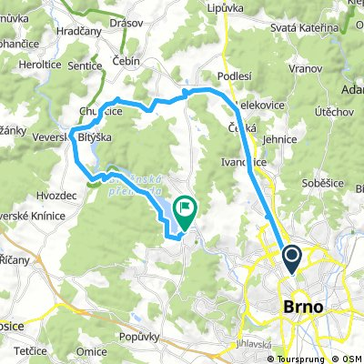 Brno centrum - Kuřim - Veverská Bítýška - Přehrada