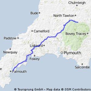 OXLEJOG Day 2 - Falmouth to Whiddon Down ( via Okehampton for tea!)