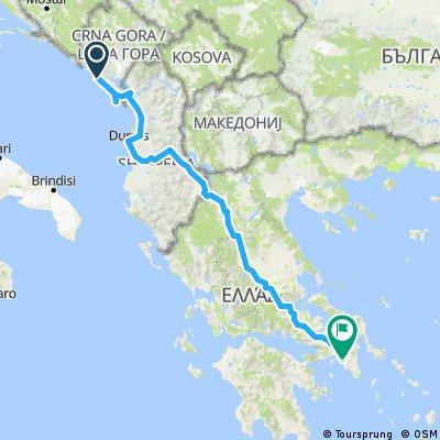 Budva - Athens cca 1000km