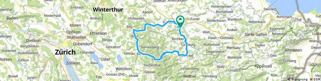 Rundkurs: Turbenthal,Hulftegg,Bütschwil.