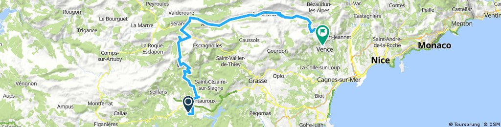 Long bike tour from Tourrettes to Vence