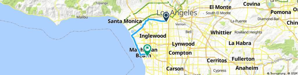 Lengthy ride from Los Angeles to Manhattan Beach