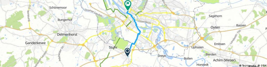 Ausfahrt von Stuhr nach Bremen