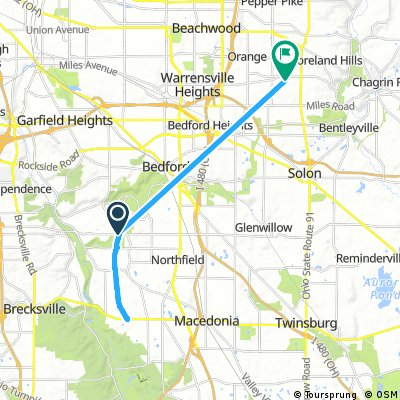 ride from Walton Hills to Moreland Hills