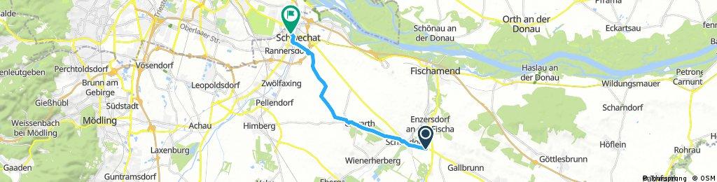Ausfahrt von Enzersdorf an der Fischa nach Schwechat
