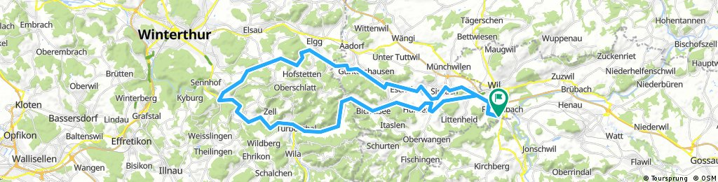 Guntershausen,Elgg,Schlatt,Zellsehr scchöne Ausfahrt nur wenige Naturstrassen welche problemlos umfahren werden können. Sehr gut E-Bike geeignet   ,Kollbrunn,Turbentahl,Balterswil,Wiezikon.Rundfahrt