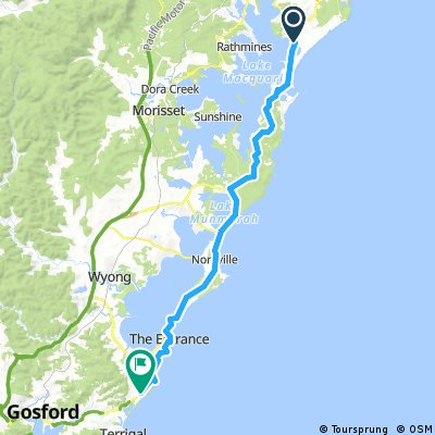 Lengthy bike tour from Belmont to Forresters Beach