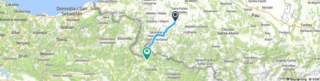 Pilgertour Rad Strecke 01 Ostabat - Roncesvalles