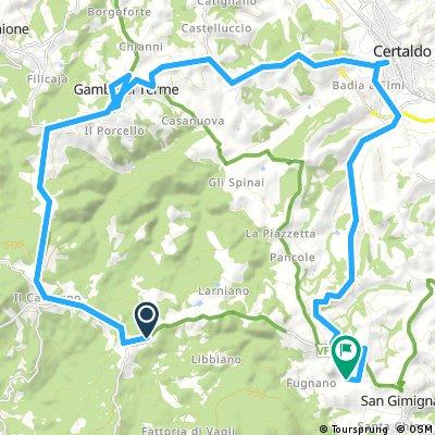 Lange Ausfahrt von Gambassi Terme nach San Gimignano