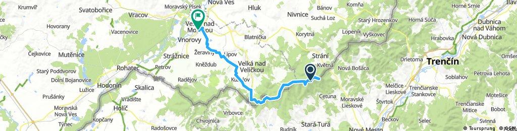 Lengthy bike tour through Veselí nad Moravou