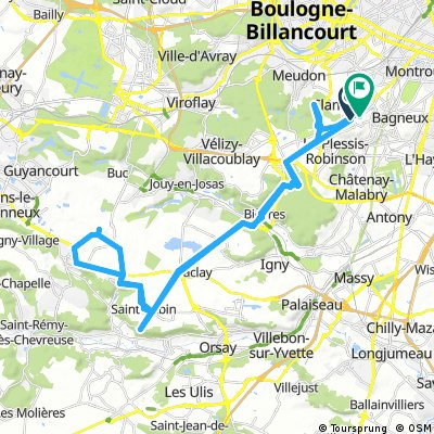 Long bike tour from Clamart to Fontenay-aux-Roses