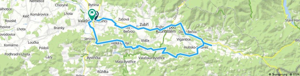 Valmez-Prostřední Bečva a zpět 56 km