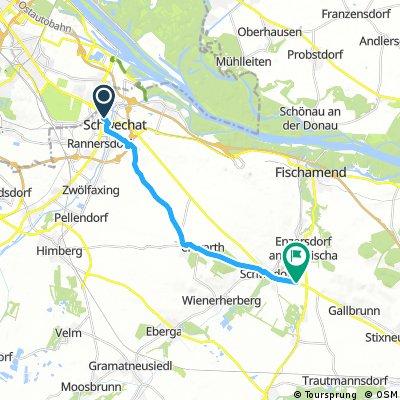 Ausfahrt von Schwechat nach Enzersdorf an der Fischa
