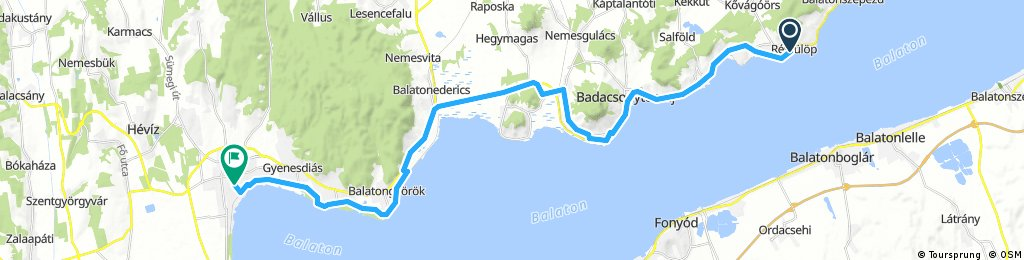 Lengthy ride from Révfülöp to Keszthely