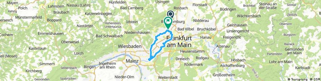 Route in den Abend mit M.G. von B. Homburg nach Rüsselsheim