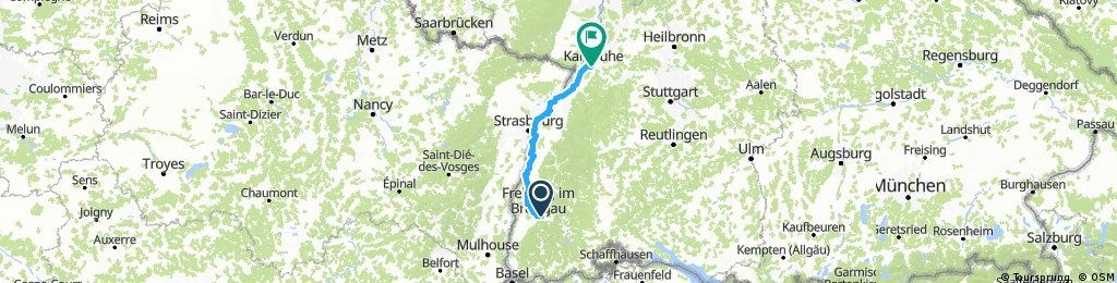 Freiburg - Karlsruhe, 150 Km,Komoot