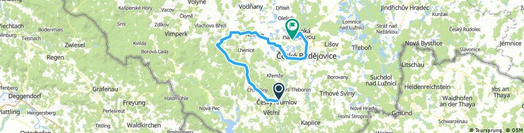 Dag 5 Woensdag 25 July Cesky Krumlov - Autocamp Hoch Bezdrev aan meer bij Hluboka nad Vilavou