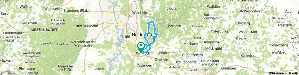 Von Wiesloch übern Neckar 77km 1100hm