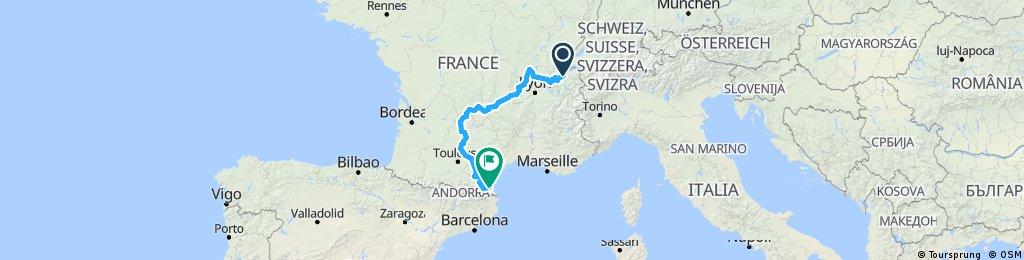 Genève - Perpignan par le Massif Central