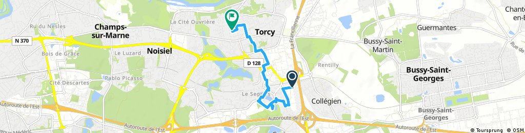 Short bike tour from Collégien to Torcy
