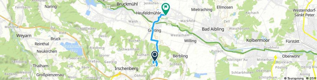 Schnelle Radrunde von Irschenberg nach Bruckmühl