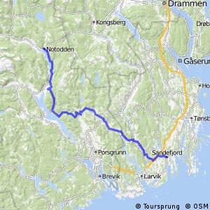 Cycling routes and bike maps in and around Sandefjord Bikemap