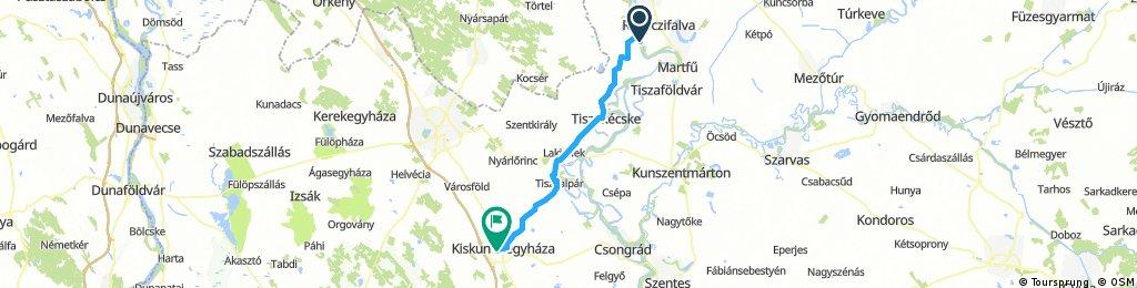 Tisza menti túra (Tiszavárkony - Kiskunfélegyháza) - rövid