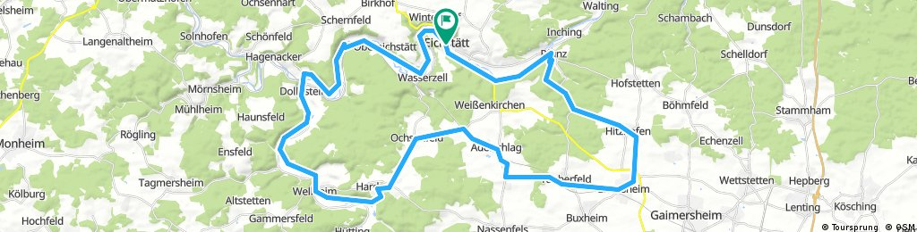 Dom zu Eichstätt bis Pfünz und zurück über Wellheim