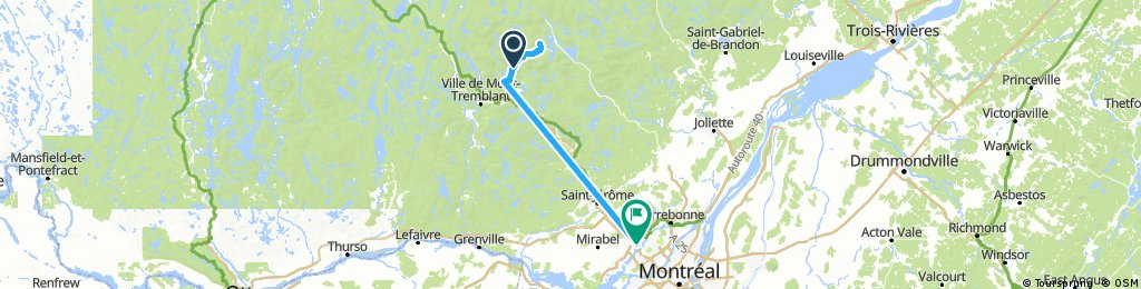 Lengthy bike tour from Val-des-Lacs to Rosemère