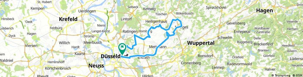 Long bike tour through Düsseldorf