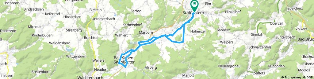 Lange Ausfahrt über Niederzell,Bellings,Steinau,Bad Soden und zurück.