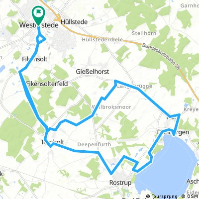 Westerstede über Torholt nach Dreibergen und zurück.