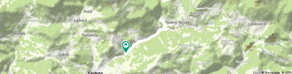 Short bike tour from end of Cerkno to Franja and back.