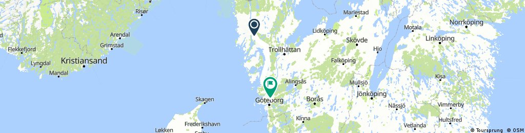 Lengthy bike tour from Munkedal to Gothenburg