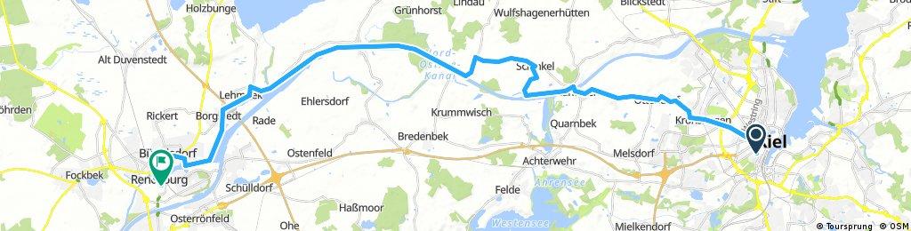 Lengthy ride from Kiel to Rendsburg