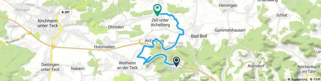 Ausfahrt von Weilheim an der Teck nach Zell unter Aichelberg