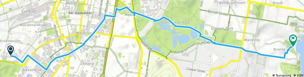 10KM - Erskineville-Moore Park - Centennial Park - Queens Park - Bronte Beach