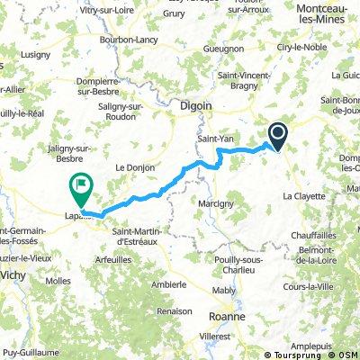 Long bike tour from Saint-Julien-de-Civry to Lapalisse