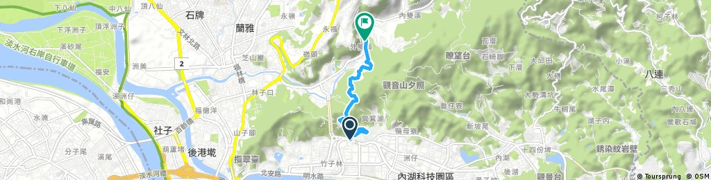Short bike tour from 西湖 to 士林區