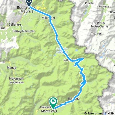 4. Etappe: Bourg-Saint-Maurice  -  Lansleboug-Mont-Cenis