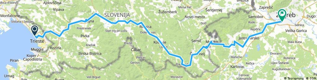 Trieste- Zagreb via Slovenia