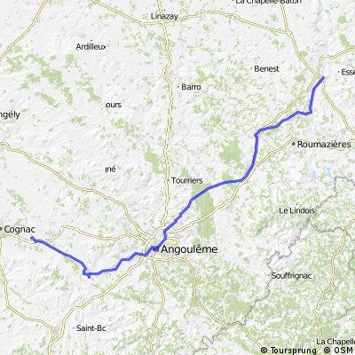 Schweiz - Atlantik; 10. Etappe Confolens (Camping Municipal) - Bourg Charante (Camping)