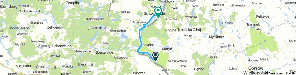 Odra Nysa : odcinek 4 - Stare Łysogórki - Krajnik  = 54 km