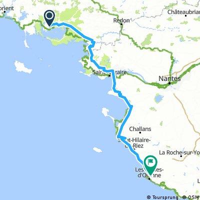 Lengthy bike tour through Olonne-sur-Mer
