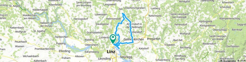 Lange Radrunde durch Linz