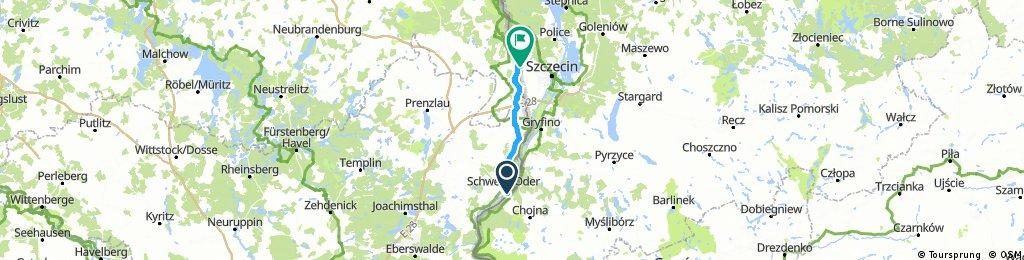 Odra Nysa:  Krajnik Dolny - Lubieszyn = 60 km